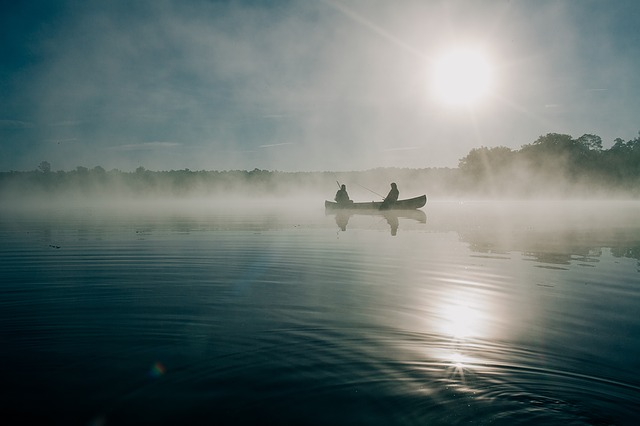 rybaření v mlze