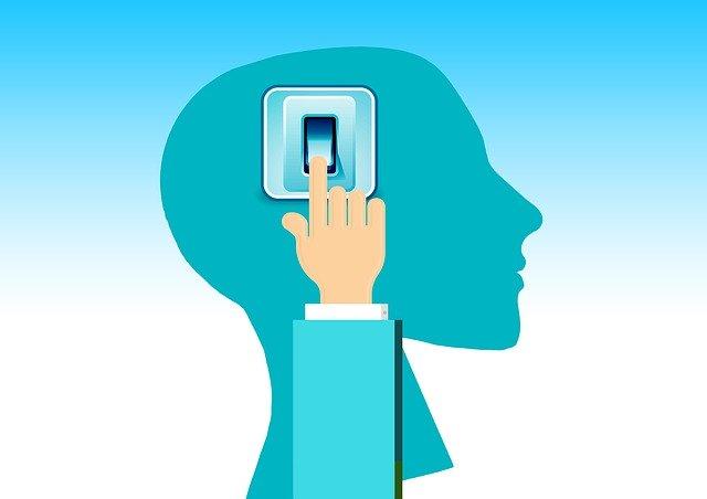 ilustrace vypínače uvnitř mozku